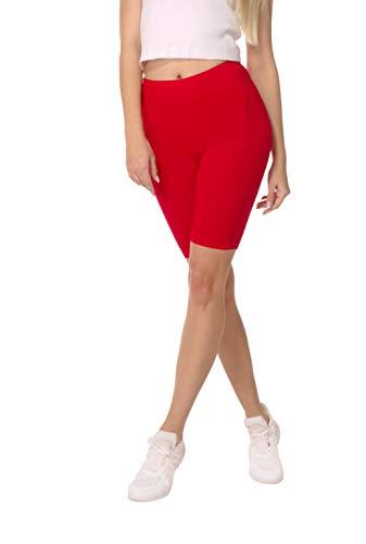 BeComfy Pantalones Cortos de Mujer Polainas Leggings Ciclismo Algodón Opaco Longitud de la Rodilla Tamaños S-8XL (S, Rojo)