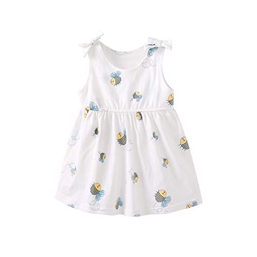 pureborn Baby Girl's Swing Dress Sleeveless Cotton Bowknot Summer Outfit Graphic Bees 1-2 Years