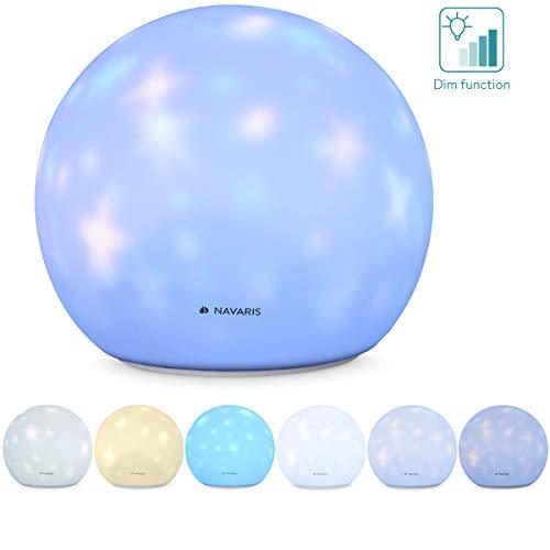 Navaris Luz nocturna infantil con forma de esfera - Lámpara LED con proyección de estrellas - Cambio de color y sensor - Blanco