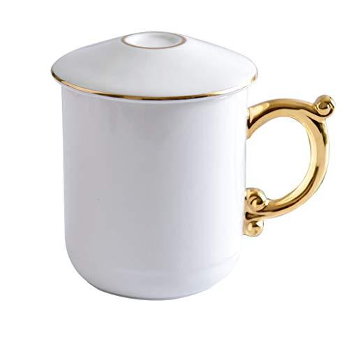 Cups elegant_RG Céramique Noire et Blanche avec poignées en Or Une Paire de Cadeaux pour Les Amoureux Gobelets Grande capacité Coffret-Cadeau Pratique de 2
