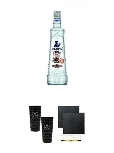 Puschkin Nuts & Nougat 0,7 Liter + Three Sixty black Vodka Glas 2 Stück (black) + Schiefer Glasuntersetzer eckig ca. 9,5 cm Ø 2 Stück