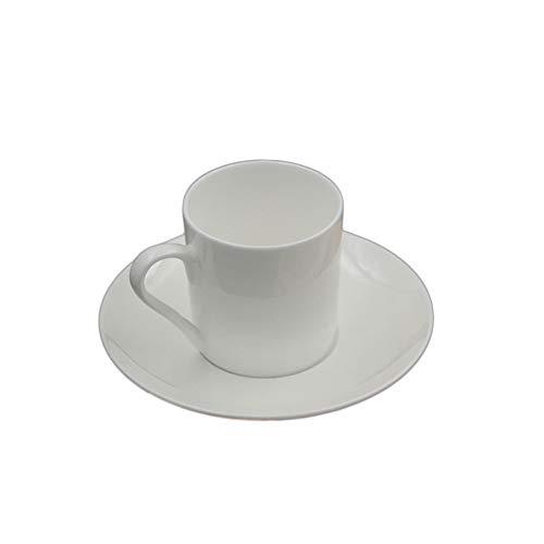 Erjialiu 100 ML de Couleur Blanche Tasse de café Expresso avec kit de Soucoupe en céramique en os de Chine poignée Petite Tasse de yogourt Tasses Droites,Style A