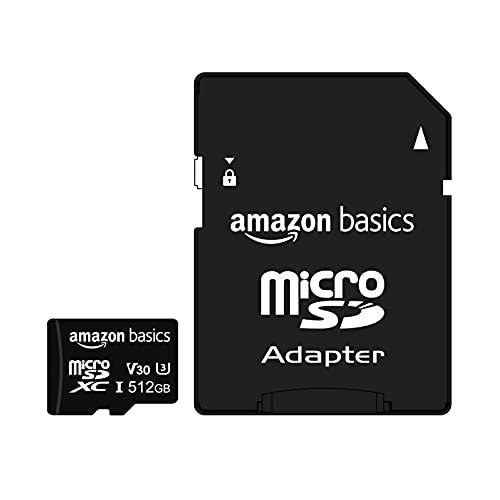 Amazon Basics - microSDXC-Speicherkarte, 512 GB, mit großem Adapter, A2, U3, lesegeschwindigkeit von bis zu 100 Mbit/s