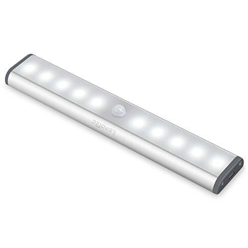 LED Bewegungsmelder Schrankleuchten,USB Kleiderschrank Lampen Unterbauleiste Beleuchtung Küchenlampen, Kabinett Nachtlicht Lichtleisten spiegelschrank Auto On/Off mit Stick-On Magnetstreifen