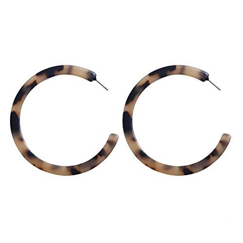 MOONQING fleckige Creolen böhmische Anweisung Harz Creolen C-Form-Schildpatt Mode Ohrringe Runde Ohrringe, Leopardenmuster
