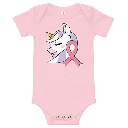 Infant Breast Cancer Onesie, Cancer Awareness Pink Ribbon Bodysuit, Cute Unicorn Girl