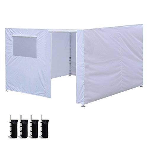 Tool 10 X 10'' Ez Up Canopy Gazebo Tent Shell Zipper Side Wall Kit Panel Home garden (Color : White)