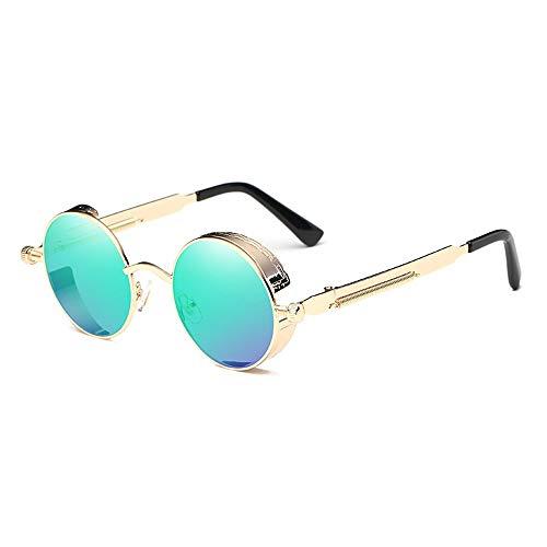 Kaper Go Gafas de sol clásicas Steampunk Europa y Estados Unidos, redondas, reflectantes, unisex, protección UV400, marco dorado (color: verde)