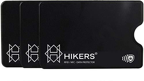 HIKERS RFID Schutzhülle für Kreditkarten, Plastik, 3er Set, Schwarz
