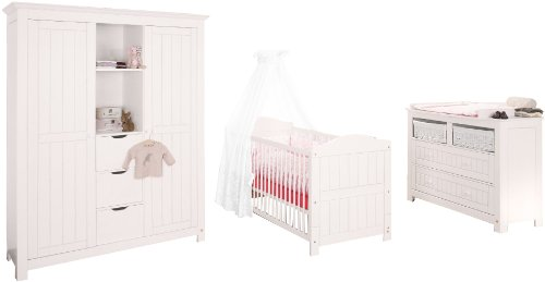 Pinolino 101617BG - Nina Kinderzimmer breit, groß, 3-teilig mit Kinderbett, breiter Kommode und großem Kleiderschrank (ohne Textilien)