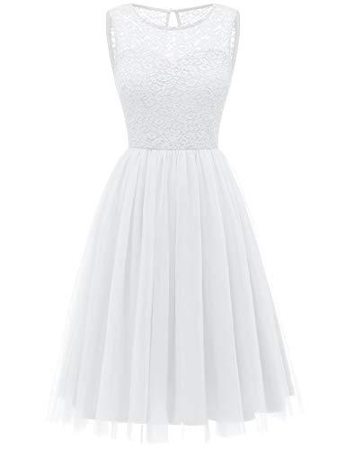 Bbonlinedress tüllrock faschingskostüme Damen tütü Cocktailkleid Tüll Kleid Brautjungfern Partykleid Abendkleid White XL