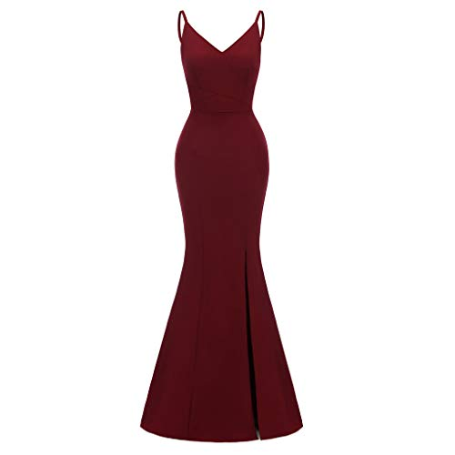 JJLIKER Women's Evening Prom Formal Mermaid Gowns Off The Shoulder Mermaid Bridesmaid Dresses Side Slit Long Party Dress Red