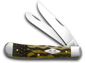CASE XX U.S. Flag Antique Bone Trapper Stainless 1/500 Pocket Knife Knives