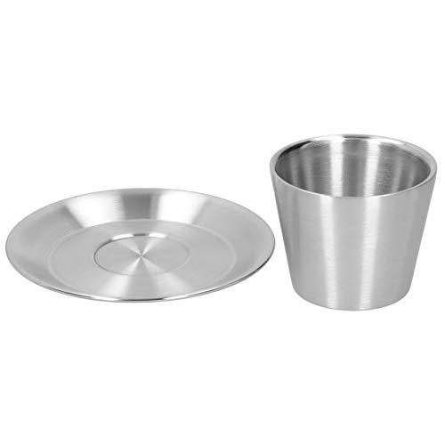 Gatuxe Vaso de café, Aislado Equipado con platillo, Juego de Tazas de café de Acero Inoxidable de 203 ml, té para sostener el café