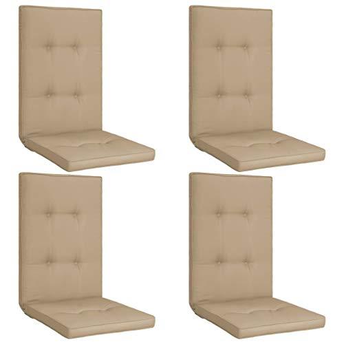 vidaXL 4X Gartenstuhl Auflage für Hochlehner Kissen Sitzkissen Stuhlkissen Polster Stuhlauflage Sitzauflagen Sitzpolster Beige 120x50x5cm