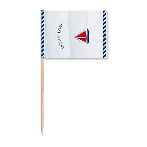 Segelboot Ozean Liebe Meer Segeln blau Zahnstocher Flags Marker Topper Party Dekoration