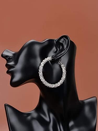 NCOEM Pendientes Elegantes de Las Mujeres Pendientes de aro de decoración de Diamantes de imitación Regalo de Joyas del día de la Madre del cumpleaños (Color : Silver)