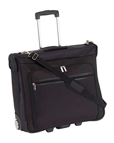 Hochwertiger XL Rollen Kleidersack Reisetasche BONN mit Schultergurt :: Anzugtasche, Anzughülle, Reisetrolley :: mit vielen Fächern, Kleiderbügel, Accessoires Taschen und Netzfächern - Schwarz