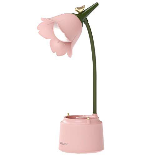 Lámpara escritorio rosa, lámpara LED recargable con puerto de carga USB, cuello cisne flexible, 3 modos de color y atenuación continua, linda lámpara para leer en el dormitorio de la universidad