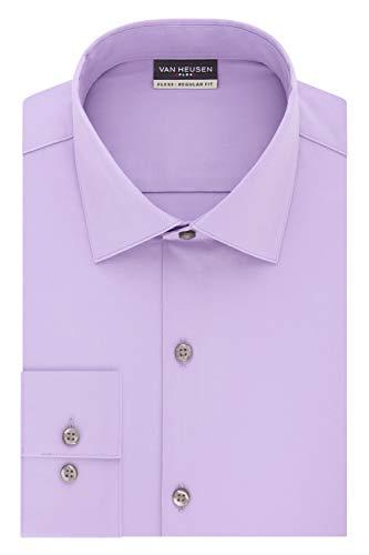 Van Heusen mens Regular Fit Flex 3 Dress Shirt, Lilac, 16 -16.5 Neck 32 -33 Sleeve Large US
