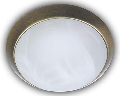 Niermann Standby Deckenleuchte Dekorring Altmessing, Glas/Metall, alabaster art, 40 x 40 x 13 cm