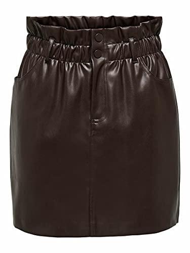 Only Onlmaiya-Miri Faux Leather Skrt Pnt Noos Falda, marrón (Coffee Bean), L para Mujer