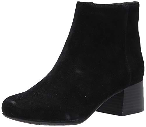 Kenneth Cole REACTION Women's Road Stop Block Heel Ankle Bootie, Black Suede, 9