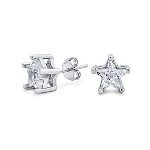 Celestial EE.UU. Patriotic Rock Star Cubic Zirconia CZ Pendientes para Mujeres Para Hombres 925 Plata de Ley 8MM