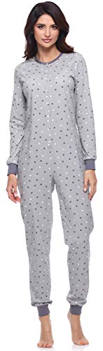 Merry Style Damen Schlafanzug Strampelanzug Schlafoverall MS10-187 (Grau/Punkten, L)