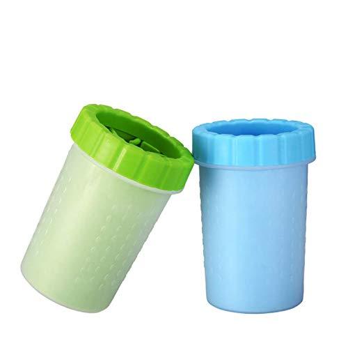 犬 猫 足洗いカップ ペット 足用クリーナー ク シリコンカップ 取り外し可能 半自動式 使いやすい 省時間 抗菌シリコーン製 安全安心 二股ブラシヘッド 洗浄力抜群 柔軟 マッサージ効果 水切り可能 回転 携帯便利 (グリーン)