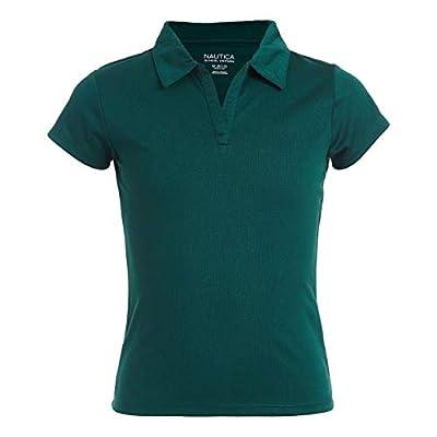 Nautica Girls' Little School Uniform Short Sleeve Performance Polo, Forest Green, Large(6)