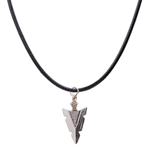 Fenical - Collar con colgante de flecha con cadena de cuerda de cera trenzada