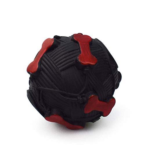WDM - Juguete para animales de compañía con impresión de huesos extraños, llamado bola de comida que huye a los perros pequeños y medianos, tamaño divertido sonoro pelota de juguete