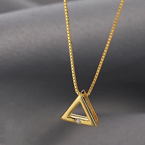 SONGK Plata de Ley 925 Brillante Doble triángulo Amor circón círculo Collares Colgantes Regalo para niña Caja Cadena Gargantilla Collar Regalo