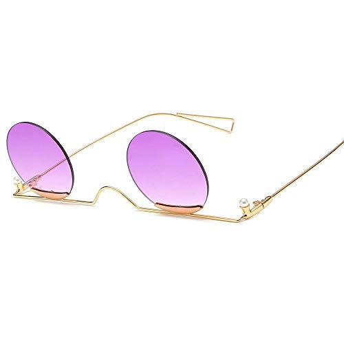 HZFZ Gafas Redondas Pequeñas Sin Marco, Lentes Oceánicos, Gafas De Sol, Gafas De Sol De Perlas Finas