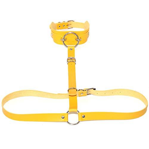 MxZas Riemchen Harness Crop Top Frauen PU-Leder Verstellbare Körper Chest Harness-Gurt Punk Gürtel Neckholder Ergattertes Hals-Körper-Kette mit Schnallen Ringe (Color : Yellow, Size : One Size)