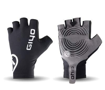 Bicycle Half Finger Gloves Gel Sports Bike Competition Gloves Mountain Bike Road Gloves Bicycle Men and Women - Black,S