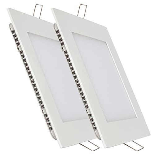 Pack 2x Panel LED Cuadrado Empotrar 18w. Color Blanco Neutro (4500K) 1600 lumenes. Downlight luminaria lampara. Driver incluido. A++