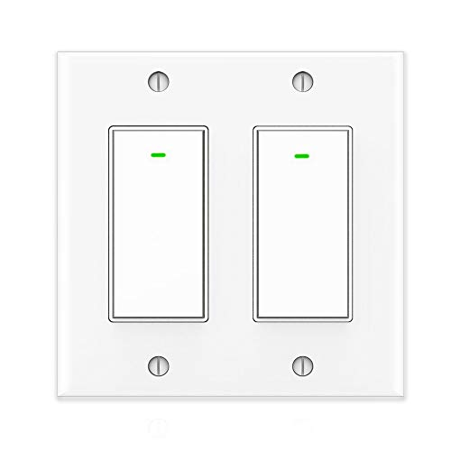 Kkcool Smart Switch, Smart Light Switch Work with Alexa and Google Home, Voice Remote Control,2.4Ghz Wi-Fi Smart Light Switch, No Hub Required, Single-Pole, Neutral Wire Required, 2 Gang