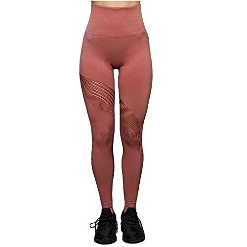 N\P Pantalones huecos atractivos de cintura alta estiramiento pantalones de yoga