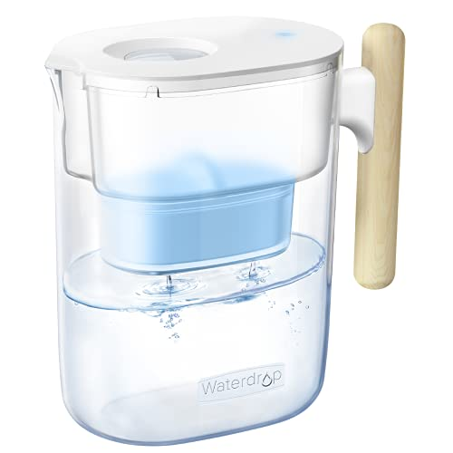 Waterdrop Chubby Alkaline Water Filter Pitcher with 1 Filter- 10 Cup Healthy, Clean & Toxin-Free Mineralized Alkaline Water (100 Gallons), Up to PH 9.5, BPA Free