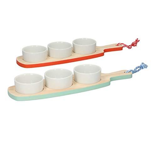 Invero® Set mit 2 Snack-Tellern und Serviertablett – jedes Set beinhaltet 1 x Tablett und 3 x weiße Schalen – ideal für gemischte Nüsse, Oliven, Nachos und mehr – (33,5 x 10 cm pro Teller)