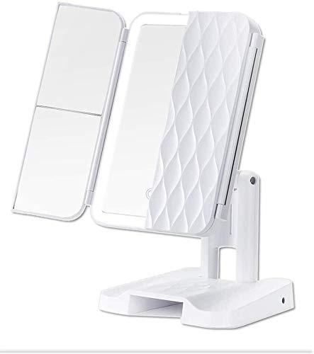 Espejo de maquillaje con aumento mejorado, espejo iluminado para el hogar, aumento 2X/3X, vanidad triple plegable con interruptor de sensor táctil, mesa para el hogar, cuarto de baño y vanidad