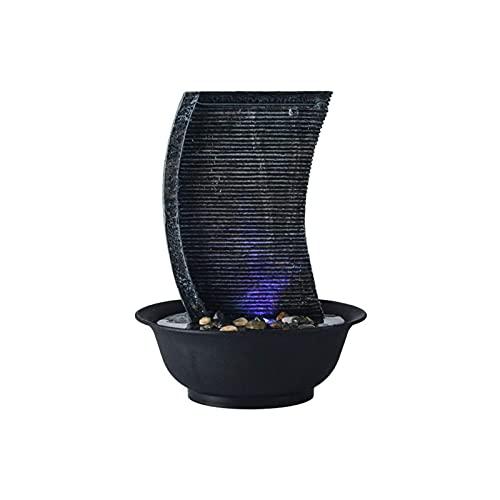 WBDZ Fuentes de Interior, Fuente de sobremesa con Luces LED Cascadas de Resina-Roca Característica de Cascada de Interior Fuentes de Escritorio pequeñas y relajantes (Color: LSG8817, Tamaño: 110V)