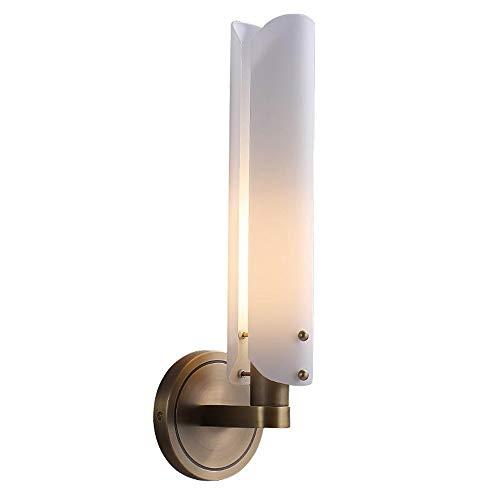 Lámpara de pared de escoce moderna simple con un sentimiento cálido de luces de pared de diseño Base de cobre completo + Lámpara blanca Iluminación de la pared E14 se utiliza para decorar el pasillo d