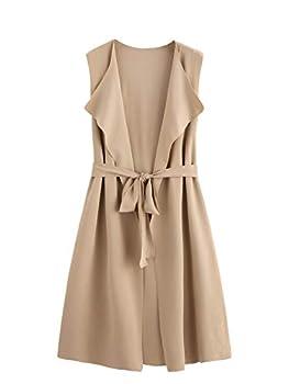 SheIn Women s Casual Lapel Open Front Sleeveless Vest Cardigan Blazer with Belt Jacket Medium Apricot
