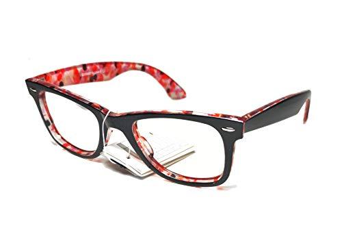 FIKO WAYFARER FANTASY Vista Montura Gafas de Mujer Hombre Protección UV400 Montura de Cuerno Lentes Claras Gafas Estilo