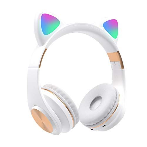 MOVKZACV Auriculares Bluetooth, con luz LED, para orejas de gato, inalámbricos, para niños, plegables para niñas, compatible con smartphones y tabletas