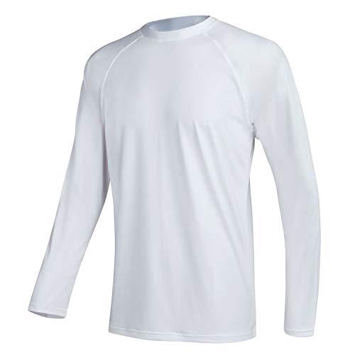 Satankud Men's Swim Shirts Rashguard Sun Shirt UPF 50+ UV Sun Protection Outdoor Long Sleeve T-Shirt Swimwear White L
