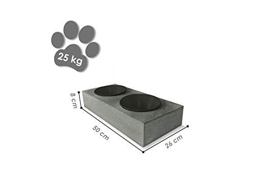 Tazado voederstation hondenmand voederbak met 2 nappen. Stijlvol, handgemaakt voerbaar/500 ml keramiek antraciet.